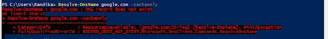 PowerShell command for NSLookup