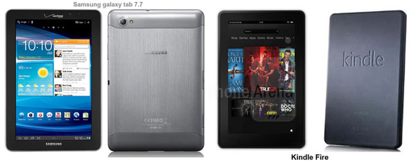 Compare Android Tablets Kindle Fire and Galaxy tab 7.7